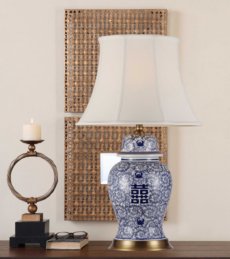 Happiness china antique living room vintage table lamp - Porcelain table lamps for living room ...