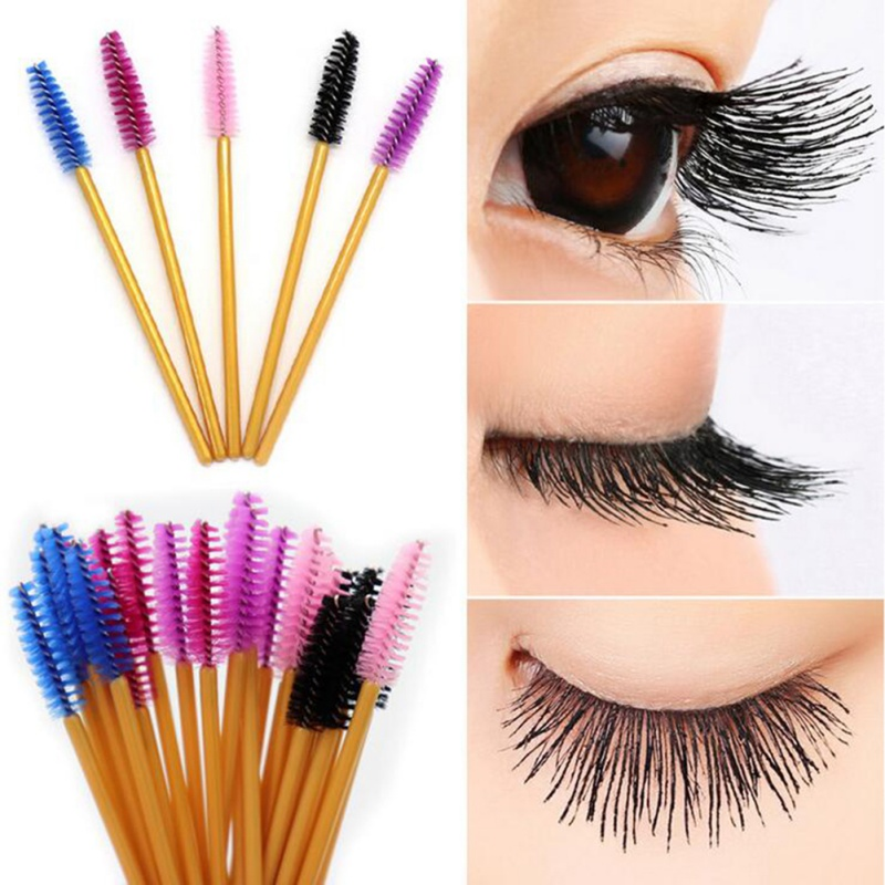 Dropship New 50Pcs/Pack Disposable Eyelash Brushes Mascara Wands Applicator Wand Makeup Tool Kit
