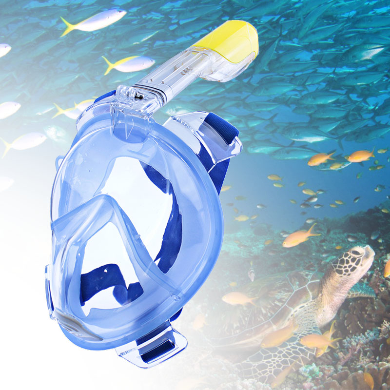 Full Face Snorkeling Masks Panorama View Anti-Leak Anti-Leak Swimming Snorkel Scuba Underwater Diving Mask GoPro Compatible