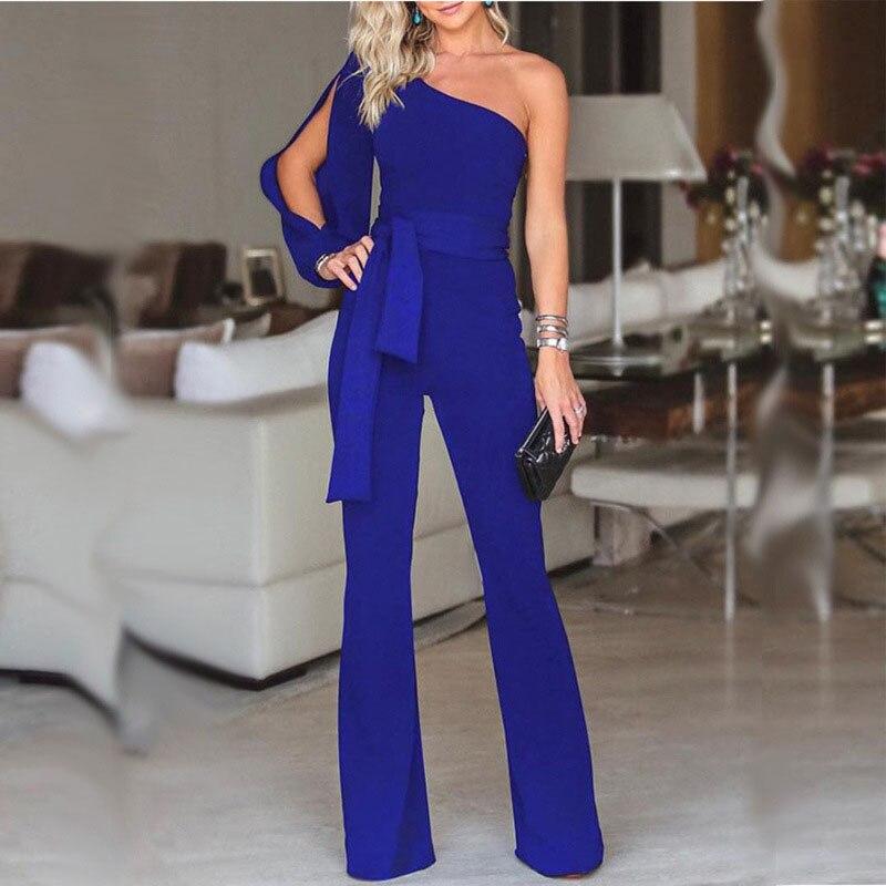 Lady   Jumpsuit   long Women Long Sleeve One shoulder Romper Cotton pants trousers fashionable