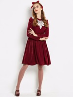 2017 New Autumn Vintage Dress Burgundy Designer Lanon Gown Knee Length Women A Line Clothes Female