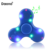 Colirful LED Light Hand Spinner High Speed Spinner MP3 Player Single Hand Decompression Focus Gyro With Speaker Anti-Stress Toys