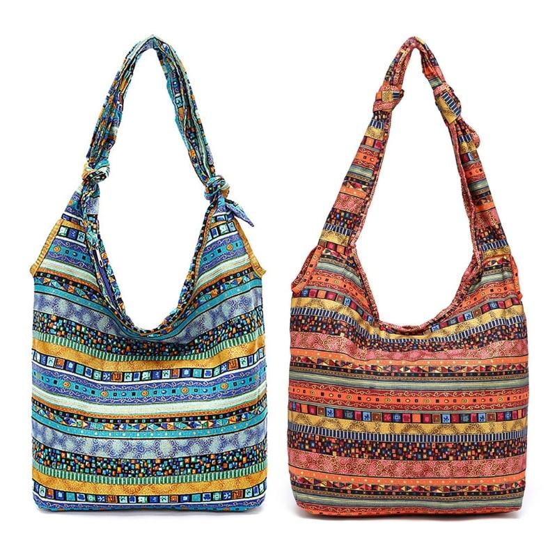 Casual Shoulder Bags Floral Printing Cotton Reusable Shopper Bag Bohemia Canvas Crossbody Shopping Bag For Women 2019