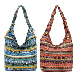 Casual Shoulder Bags Floral Printing Cotton Reusable Shopper Bag Bohemia Canvas Crossbody Shopping Bag For Women 2018