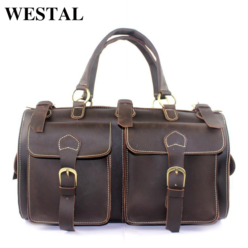 WESTAL Genuine Leather Men Travel Bag Men Bags Multifunction Tote Luggage Travel Duffle Bag Crazy Horse Leather Handbag Suitcase рождественская екатерина робертовна взрослые игры