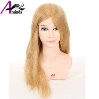 46 см золотисто русый укладки волос куклы головы парикмахерскими манекен головы с 100% реальные человеческие волосы манекен для прически