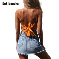 Sukibandra Lato Kobiety Camisole Crop Top Bow Tie Koronki Bawełniane Up Dorywczo Pomarańczowy Cami Backless Sexy Plaża Krótki Tank Przycięte Top