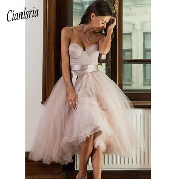 Sleeveless Sweetheart Homecoming Dresses Corset Short Blush Tulle Junior Prom Dress with Removable Sash
