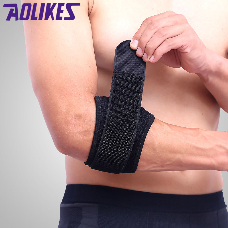 AOLIKES 1Pcs Adjustbale Tennis Elbow Support Guard Pads Golfer's Strap Elbow Lateral Pain Syndrome Epicondylit Brace