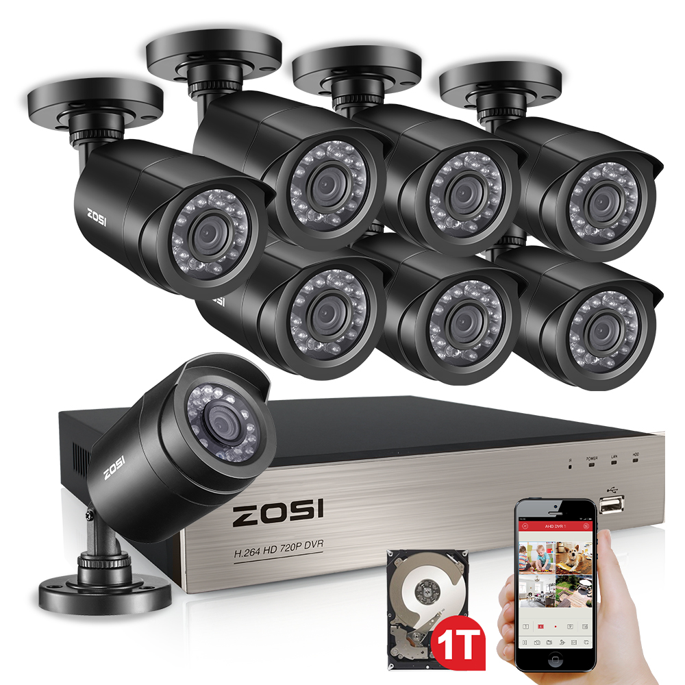 ZOSI 8CH CCTV System 1080N HDMI TVI CCTV DVR 8PCS 720P IR Outdoor Security Camera 1280 TVL Camera Surveillance System zosi 8ch cctv system 1080n hdmi tvi cctv dvr 8pcs 720p ir outdoor security camera 1280 tvl camera surveillance system