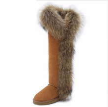 2017 New Style big girls fox fur tall thigh winter snow boots for women winter shoes cow split leather long boots for party