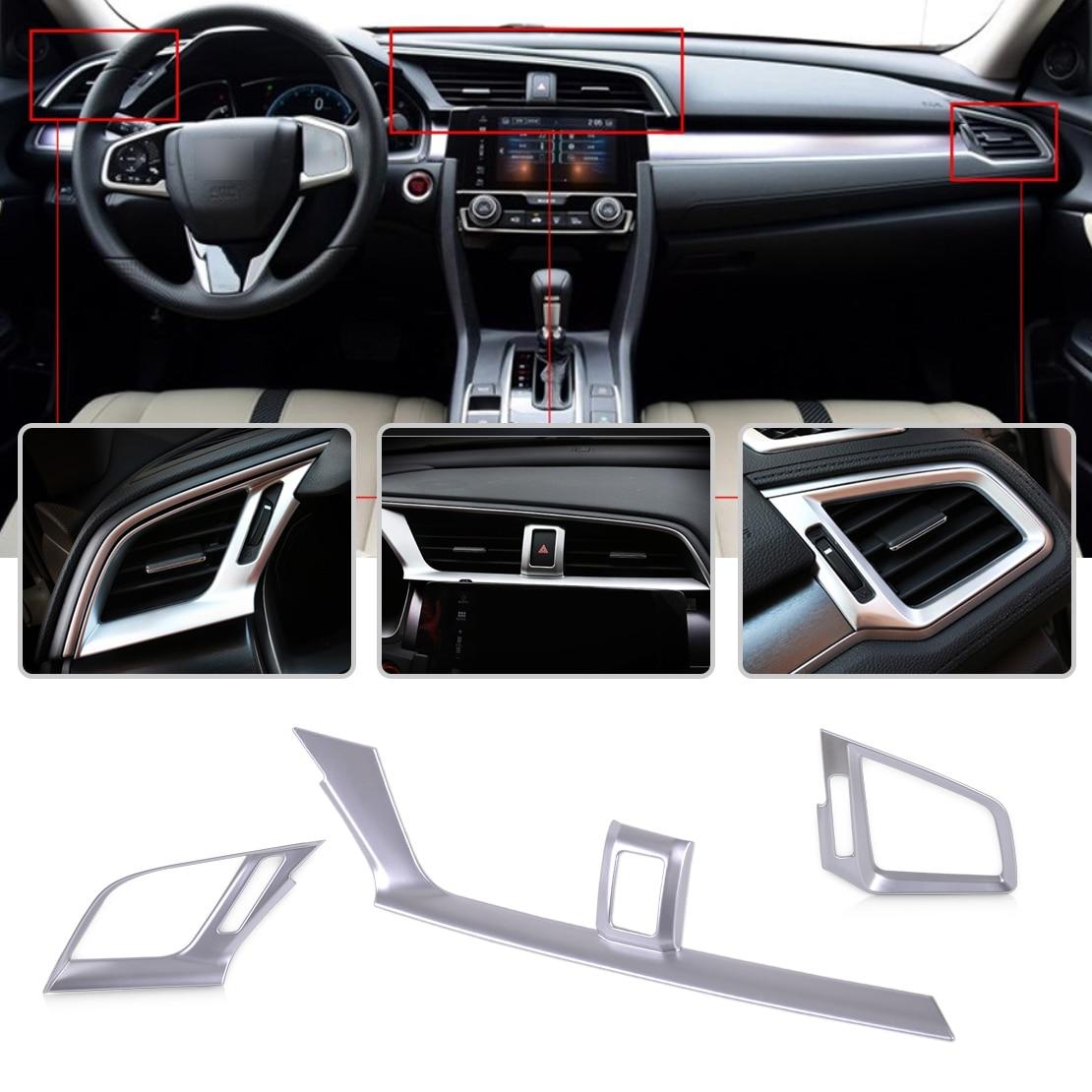 Beler 3 Pcs Argent Chrome Plaqué Console Tableau de Bord Climatisation Outlet Vent Garniture Couverture pour Honda Civic 2016 2017