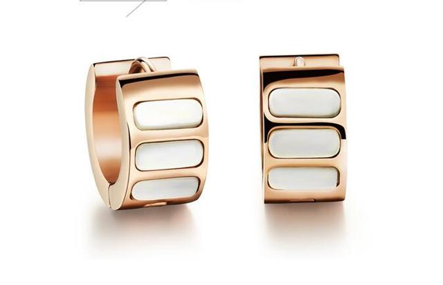 Envío gratis, de la mujer moda exquisitos pendientes de aro, roca blanca ronda patrón, acero inoxidable chapado oro rosa, 2 colores, GE291