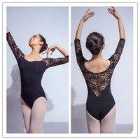 Lace Ballet Leotards Dance Bodysuit Dress For Stage Dancer Gymnastics Leotard Women Adult Sexy Elegance Black Slash Neck C065