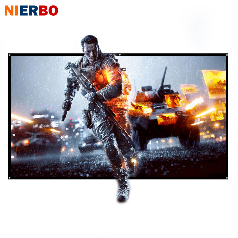NIERBO Projector Screen 60 to 100 inch Rolled Up 16:9 Portable Screen for Projector Outdoor Indoor for Home Theater Full HD 3D support for customfree shipping 120 inch projector mount screen 16 9 gf grey