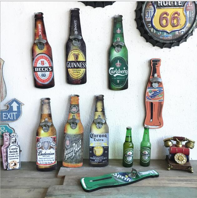 25pcs lot Wood Signs shabby chic Vintage Wall Mounted Hanging Bottle Opener over 10 Designs Perfect