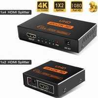 4K Splitter UHD 3D HD HDMI Splitter 1X4 HDMI Splitter 1X2 1080p Switch Switcher Repeater Amplifie for HDTV DVD PS3 Xbox