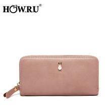 HOWRU Long Zipper Wristband Clutch Wallet Female Soft Leather Large Capacity Women s Wallets and Purses