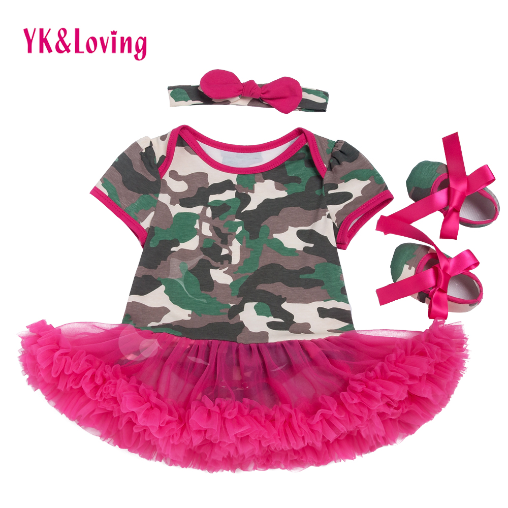 Camouflage Dress Infant Camo Baby Rose Ruffle Dresses Cotton Baby Girl clothing Set Toddler Shoes Headband Father's Day