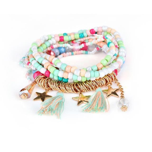 Boho Tassel Pearl Charms Bracelets
