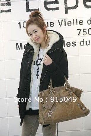 Fashion Women Winter Warm Lapel Zip Up Military Hoodie Parka Coat Jacket