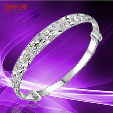 New Fashion 925 Silver Nail sand All over The Sky Star Adjustable Bracelets&Bangles Jewelry for Women Bride Wedding Gift 18k