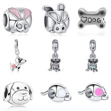 2019 new 1pc european rabbit bunny buddy dog bone mouse diy bead Fit Pandora Charms silver Bracelet original for women F132(China)