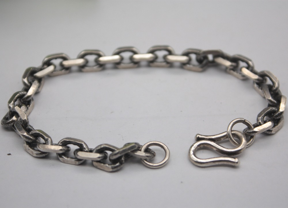 Sterling S925 Silver Bracelet Unique Square Cable Chain Mans Link Jewelry 7.5L Personality Jewelry For ManSterling S925 Silver Bracelet Unique Square Cable Chain Mans Link Jewelry 7.5L Personality Jewelry For Man
