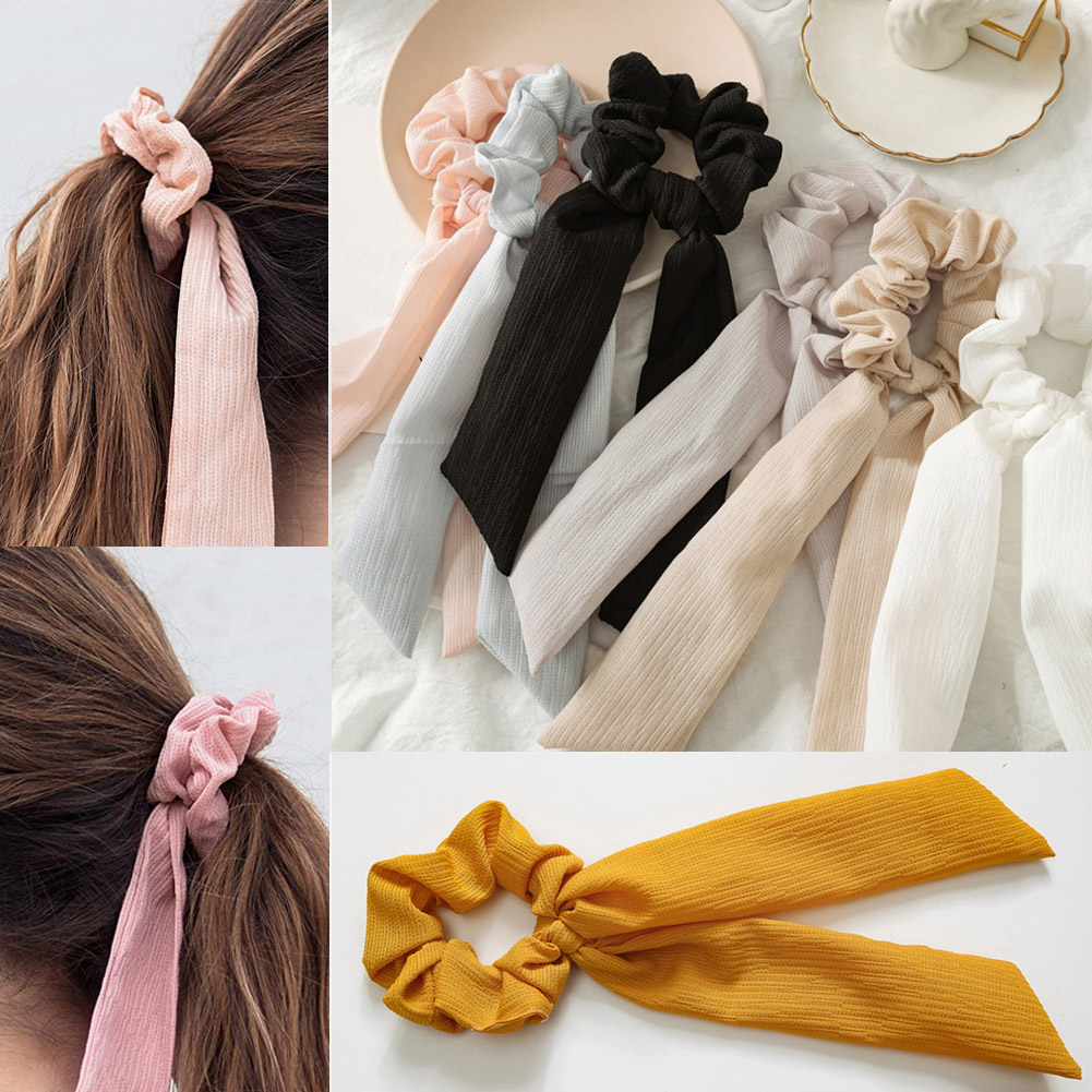 Fashion Summer Ponytail Scarf Elastic Hair Rope For Women Solid Color Hair Bow Ties Scrunchies Bows Ribbon Hairbands Accessories