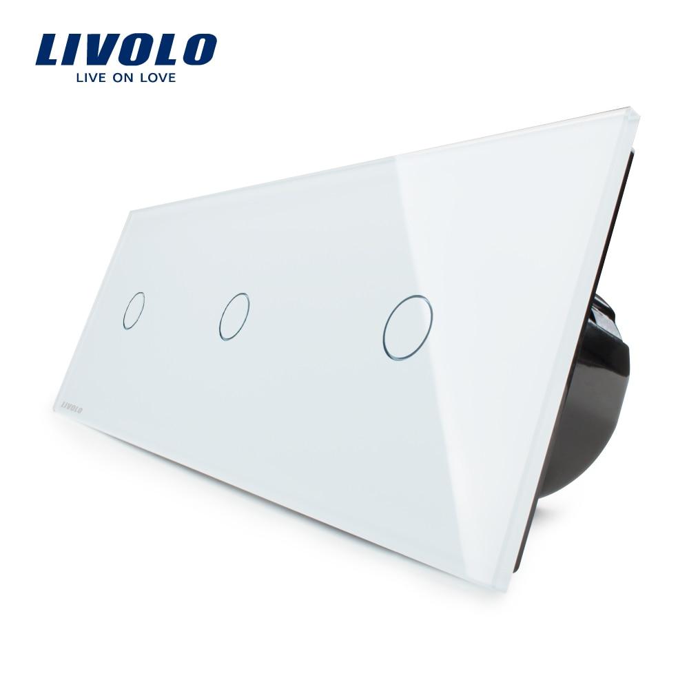 Fabricant, Livolo UE Standard, Mur de luxe Triple Commutateur de Contact, VL-C703-11, Avec Panneau Verre Cristal Blanc