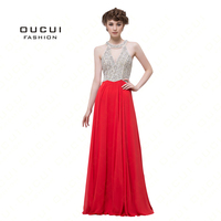 Real Photos Beading Handwork Evening Long Dresses Halter A Line Crystal red prom dresses Chiffon Evening Gowns OL102955