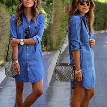 Women Casual Denim Dresses Pockets Elegant Cowboy Fashion Feminino Lady Slim Shirt Dress Jeans