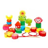 ילדי חרוזים לשרוך קו מחרוזת עץ מונטסורי צעצוע צעצועים חינוכיים מוקדמים פירות/דיגיטלי/תחבורה בלוקים ילד מתנות