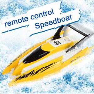Image 2 - Barco eléctrico de plástico con Control remoto para niños, bote eléctrico de plástico de 4 canales con Control remoto, Motor gemelo, Chico, juguete para niños