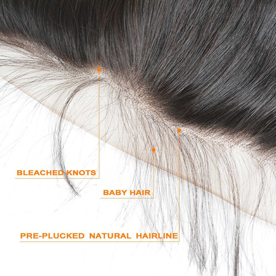 BAISI włosów peruwiański ciało fala dziewiczy włosy szwajcarska koronka Frontal zamknięcie 13x4 Pre-oskubane naturalną linię włosów