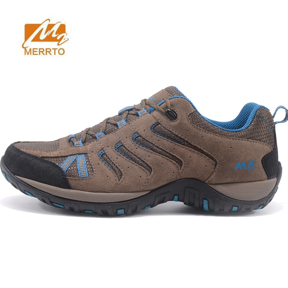 MERRTO Men's Mesh + Leather Outdoor Hiking Trekking Shoes Sneakers Footwear For Men Sports Climbing Mountain Trail Shoes Man humtto new hiking shoes men outdoor mountain climbing trekking shoes fur strong grip rubber sole male sneakers plus size