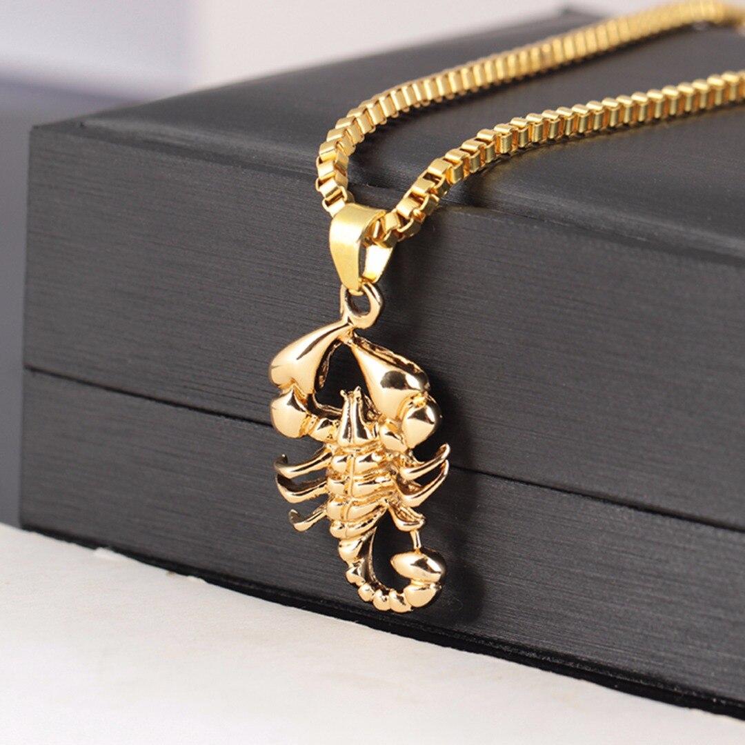 Shellhard Men Hip Hop Jewelry Scorpio Long Chain Gold Color Scorpion Pendant Necklace for Men Punk Rock Jewelry Gift