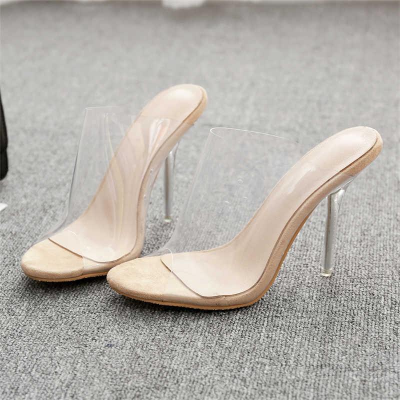 2019 повседневные летние женские босоножки на высоком каблуке 11 см, украшенные кристаллами, сланцы, женские шлепанцы на прозрачном каблуке с открытым носком, пикантная обувь для вечеринок