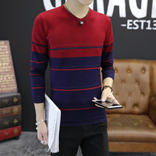 Fall 2017 new tide male cultivate one's morality v-neck color matching long sleeve men sweater Youth fashion joker knitwear