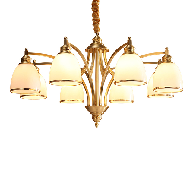 Copper pendant lamp brass hanging light glass shade Chandelier ...