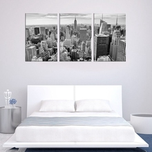 Wall Art Black and White Canvas Painting Decor Empire State Building New York City Skyline Contemporary Picture Home