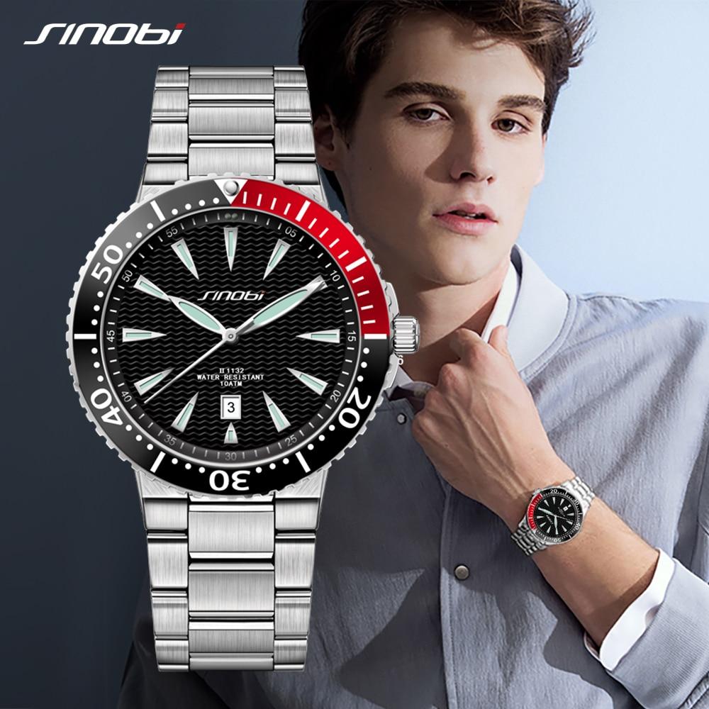 SINOBI Watch Mens Quartz Wrist Watches Luminous Pointer Stainless Steel Male Sports Geneva Rolexable Watches Relogio Masculino