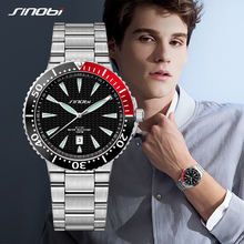 SINOBI Watch Mens Quartz Wrist Watches Luminous Pointer Stainless Steel Male Sports Geneva Rolexable Watches Relogio Masculino