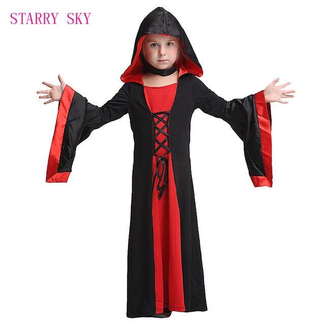 3c5422c28c50 Halloween Bambini Deluxe Medievale Gotico Nero Strega Abito Lungo Delle  Ragazze Costume del Diavolo Strega di