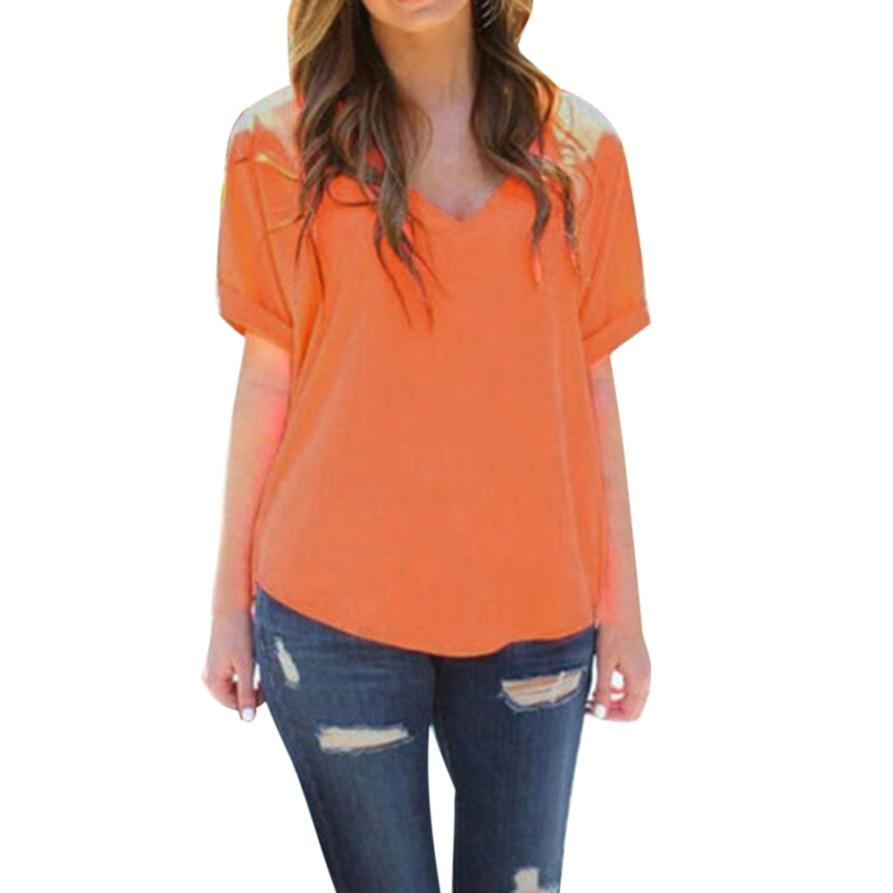 Women Casual Tank Top Blouse Short Sleeve V Neck Top Shirt Solid Orange Tops Summer Fashion Ladies Casual Brand Tops Blusas