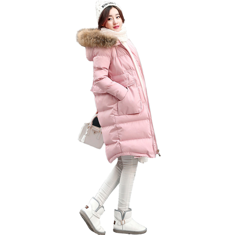 Winter new thick warm padded jacket Slim was thin female  of the long section hooded raccoon fur collar coat CC264 2017 winter new clothes to overcome the coat of women in the long reed rabbit hair fur fur coat fox raccoon fur collar
