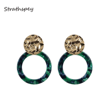 STRATHSPEY Handmade Hammered Round Circle Acrylic Earrings For Women Vintage Geometry Resin Drop Earring Fashion Jewelry Gifts