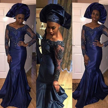 African Navy Blue Long Sleeve Evening Dresses Lace Bead Taffeta Mermaid Prom Dress Cheap Special Occasion Gowns Vestido de Noche