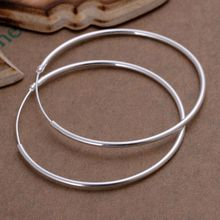 Wholesale High Quality Jewelry 925 jewelry silver plated Smooth Circle Earrings for Women best gift SMTE042