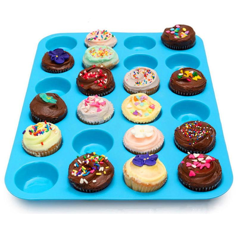 24 Lattices Silicone Square Cupcakes Baking Mold Pan Nonstick Muffin Biscuit DIY Fondant Mould Kitchen Bakeware Tool